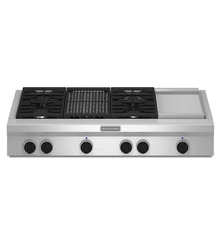 KitchenAid® 48 Inch 4 Burner Gas Rangetop, Commercial Style   Stainless ...