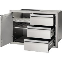 """36"""" X 24"""" Single Door & Triple Drawer Combo and Triple Drawer , Stainless Steel"""