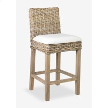 Durham Rattan Barstool w/ Upholestered Seat and Wood Base (18x20x42)