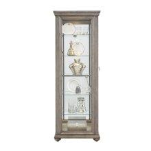 Sliding Framed 5 Shelf Curio Cabinet in Grey