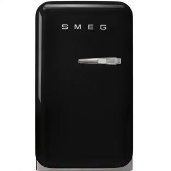 "Approx 16"" 50's Retro Style Mini Refrigerator, Black, Left hand hinge"