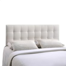 Lily King Tufted Faux Leather Headboard in White