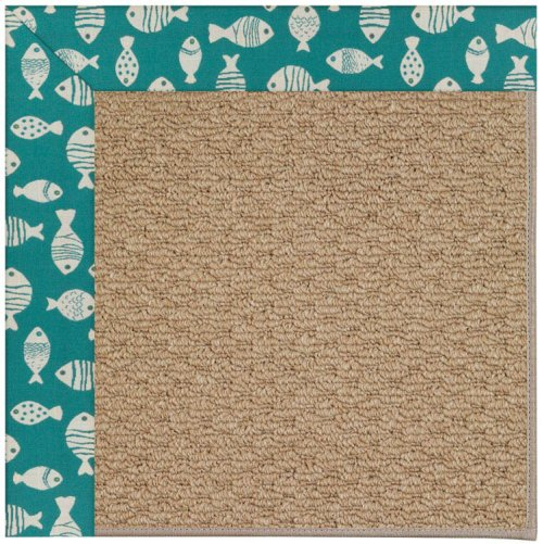 Creative Concepts-Raffia Go Fish Turquoise Machine Tufted Rugs
