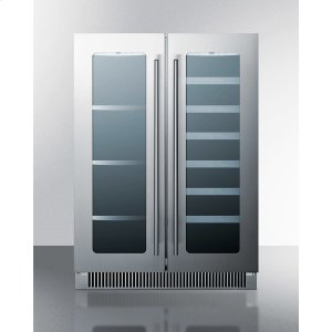 SummitFrench Door Dual Zone Wine and Beverage Center for Built-in or Freestanding Use, With Seamless Stainless Steel Trimmed Low-e Glass Doors and Black Cabinet