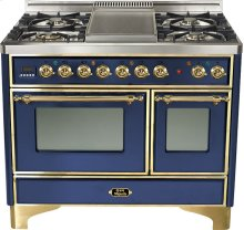 "Midnight Blue 40"" French Top Majestic Techno Dual Fuel Range"