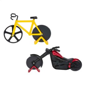 6 pc. ppk. Bicycle & Motorcycle Pizza Cutter