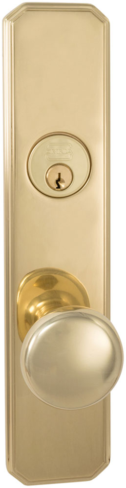 Exterior Traditional Mortise Entrance Knob Lockset with Plates in (US3 Polished Brass, Lacquered)