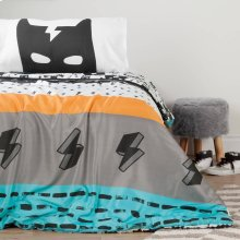 Superheroes Comforter and Pillowcases - Black and White