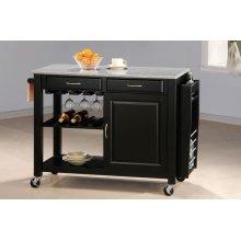 Black Kitchen Cart With Granite Top