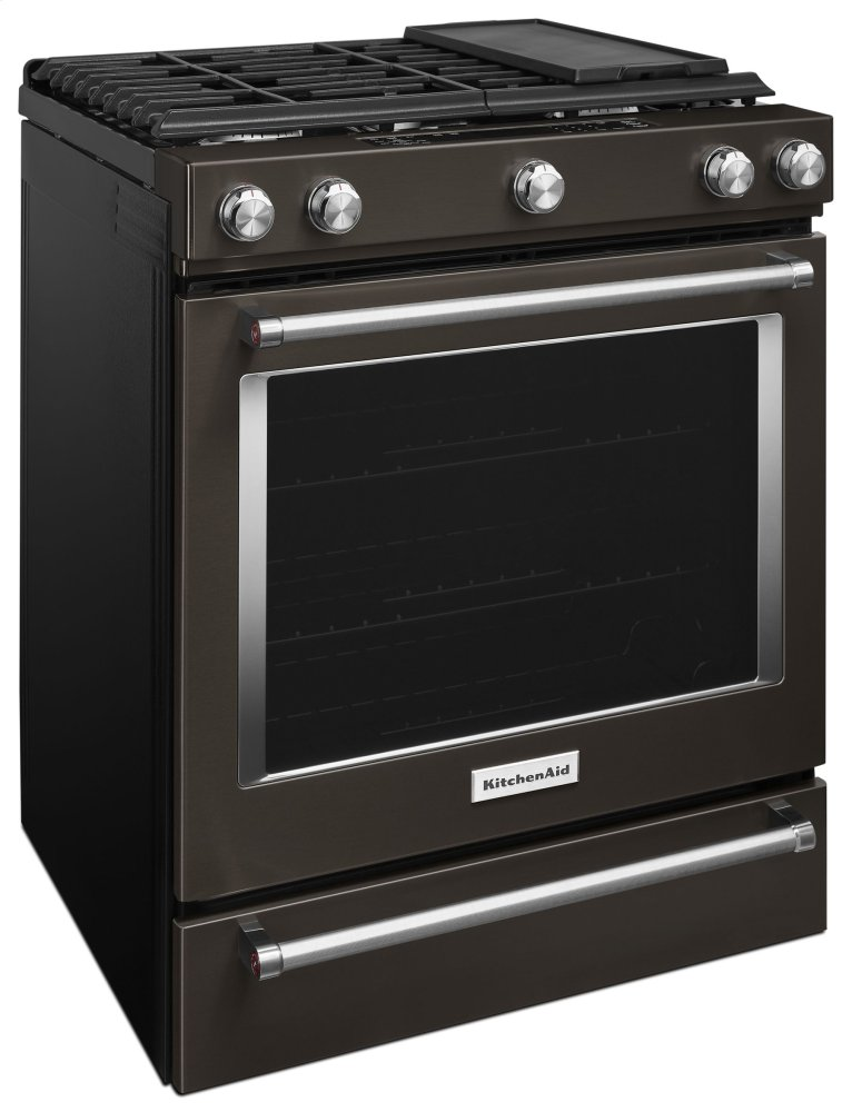 Kitchenaid Black 30 Inch 5 Burner Gas Slide In Convection Range   Black  Stainless