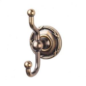 Edwardian Bath Double Hook Ribbon Backplate - German Bronze