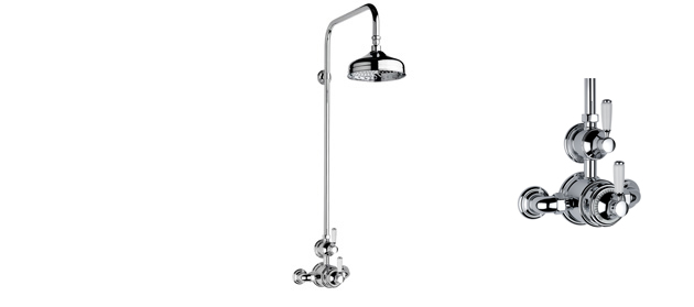 """Antique Gold Fairfield Exposed 3/4"""" Thermostatic Shower Set"""