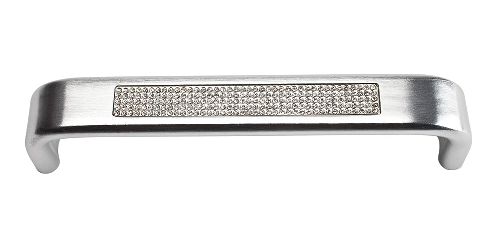 Crystal Inset Arch Pull 5 1/16 Inch (c-c) - Matte Chrome