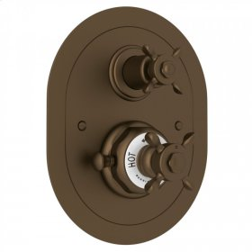 English Bronze Perrin & Rowe Edwardian Era Oval Thermostatic Trim Plate With Volume Control with Edwardian Cross Handle