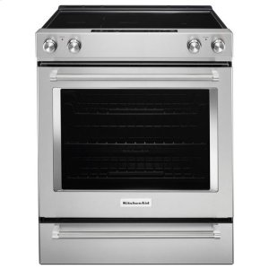 KitchenAid® 30-Inch 5-Element Electric Slide-In Convection Range - Stainless Steel Product Image