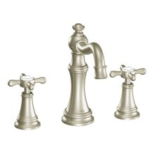 Weymouth brushed nickel two-handle bathroom faucet