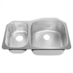American StandardPrevoir Stainless Steel Undermount 31-1/2 Inch by 20-5/8 Inch 2-Bowl Combo Kitchen Sink - Brushed Stainless Steel