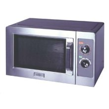 Stainless steel mid-sized microwave with rotary timer