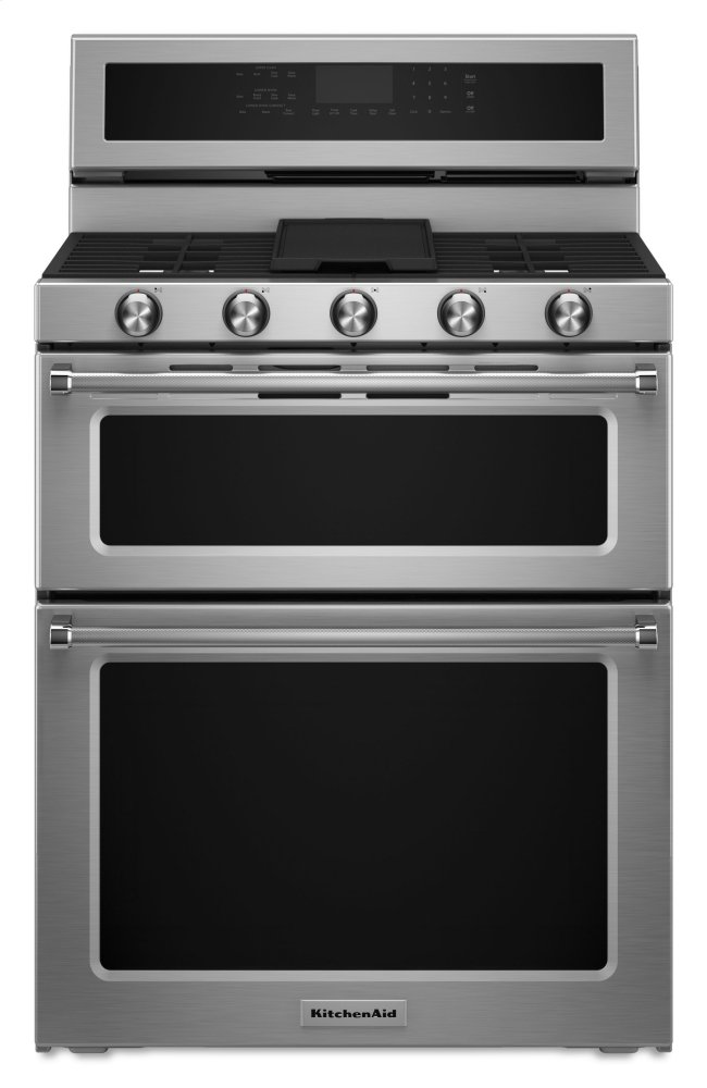 Kitchenaid30-Inch 5 Burner Gas Double Oven Convection Range - Stainless Steel