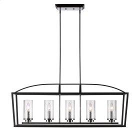 Mercer 5 Light Linear Pendant in Black with Seeded Glass