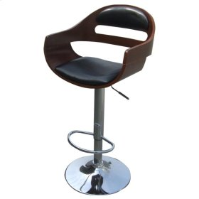 Lex Gaslift Barstool, Black/Walnut