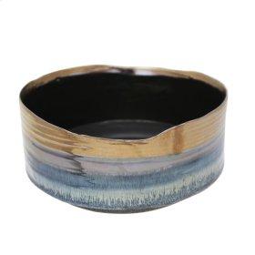"""Ceramic 10.75"""" Planter, Metallic Blue"""
