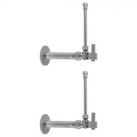 "Polished Chrome - Quarter Turn Angle Pattern 1/2"" IPS x 3/8"" O.D. Faucet Supply Kit with Square Lever Handle, 20"" Supply Tubes, Escutcheons"