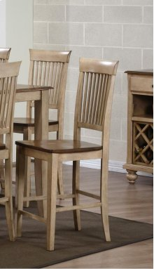 Sunset Trading Brook Fancy Slat Stool in Wheat with Pecan Finish Seat - Sunset Trading