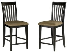 Mission Pub Chairs Set of 2 with Cappuccino Cushion in Espresso