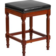 26'' High Backless Light Cherry Wood Counter Height Stool with Spindle Legs and Black Leather Seat