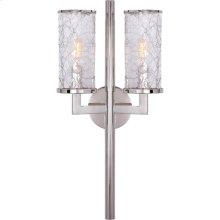 Visual Comfort KW2201PN-CRG Kelly Wearstler Liaison 2 Light 10 inch Polished Nickel Sconce Wall Light, Kelly Wearstler, Crackle Glass