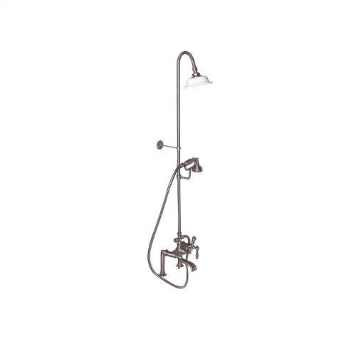 Tub Filler with Diverter Hand-Held Shower and Riser - Metal Lever Handles - Brushed Nickel