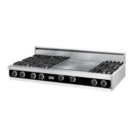 """Black 60"""" Open Burner Rangetop - VGRT (60"""" wide, six burners 24"""" griddle/simmer plate)"""