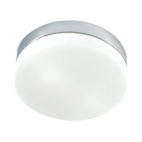 Disc Medium 2-Light Flush Mount in Metallic Grey with Frosted Glass