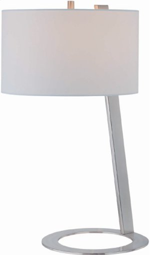 Table Lamp, Ps W/white Fabric Shade, E27 Cfl 13w