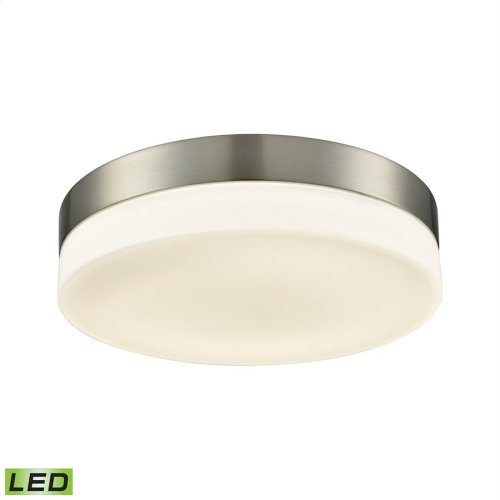 Holmby 1-Light Round Flush Mount in Satin Nickel with Opal Glass Diffuser - Integrated LED - Large