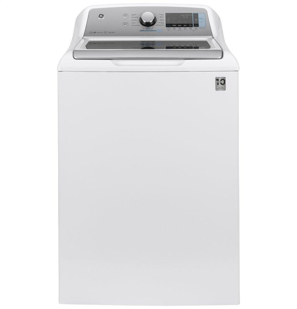 GE(R) 5.2 cu. ft. Capacity Washer with SmartDispense  WHITE ON WHITE WITH SILVER BACKSPLASH