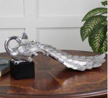 Silver Peacock Figurine