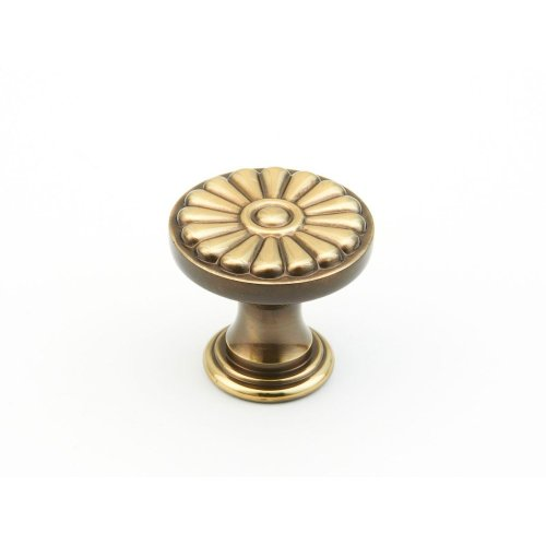 "Solid Brass, Montcalm, Round Knob, 1-3/8"" diameter, Antique Light Polish finish"