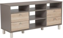 Montclair Collection TV Stand in Gray Finish with Sonoma Oak Wood Grain Drawers