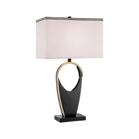 Blind Tiger Table Lamp In Wood and Metal Accents With White Linen Hardback Shade