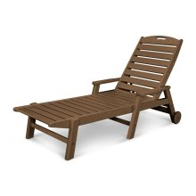 Teak Nautical Chaise with Arms & Wheels