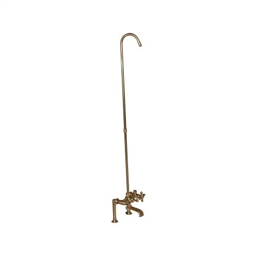 Tub Rim-Mounted Filler with Diverter and Riser - Metal Cross Handles - Polished Brass