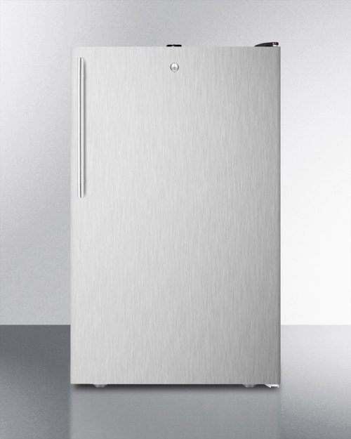 """20"""" Wide Counter Height Refrigerator-freezer With A Lock, Stainless Steel Door, Thin Handle and Black Cabinet"""