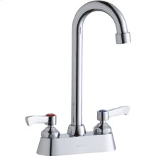 """Elkay 4"""" Centerset with Exposed Deck Faucet with 5"""" Gooseneck Spout 2"""" Lever Handles Chrome"""