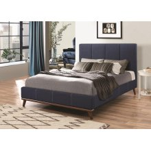 Charity Blue Upholstered California King Bed