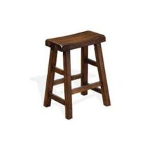 "24""H Santa Fe Saddle Seat Stool w/ Wood Seat"