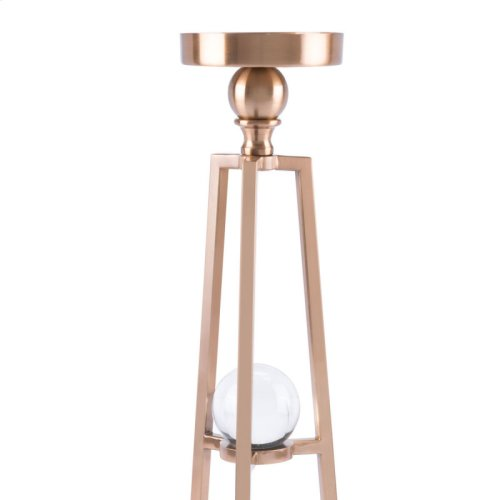 Candle Holder With Orbs Lg Antique Brass