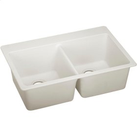 "Elkay Quartz Luxe 33"" x 22"" x 9-1/2"", Equal Double Bowl Drop-in Sink, Ricotta"