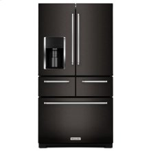 "Black-on-Stainless KitchenAid® 25.8 Cu. Ft. 36"" Multi-Door Freestanding Refrigerator with Platinum Interior Design"